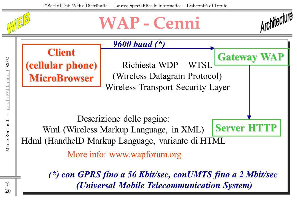 J0 20 Marco Ronchetti - ronchet@dit.unitn.it ronchet@dit.unitn.it Basi di Dati Web e Distribuite – Laurea Specialitica in Informatica – Università di Trento WAP - CenniClient (cellular phone) MicroBrowser Gateway WAP Richiesta WDP + WTSL (Wireless Datagram Protocol) Wireless Transport Security Layer Server HTTP Descrizione delle pagine: Wml (Wireless Markup Language, in XML) Hdml (HandhelD Markup Language, variante di HTML 9600 baud (*) (*) con GPRS fino a 56 Kbit/sec, conUMTS fino a 2 Mbit/sec (Universal Mobile Telecommunication System) More info: www.wapforum.org
