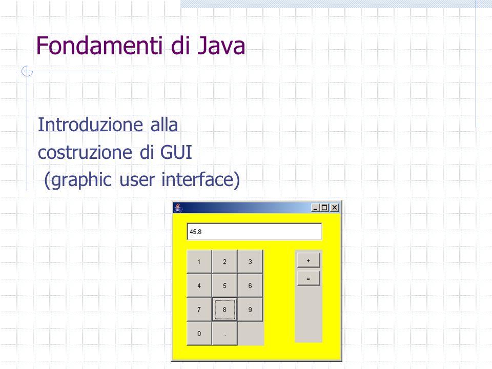 Fondamenti di Java Introduzione alla costruzione di GUI (graphic user interface)