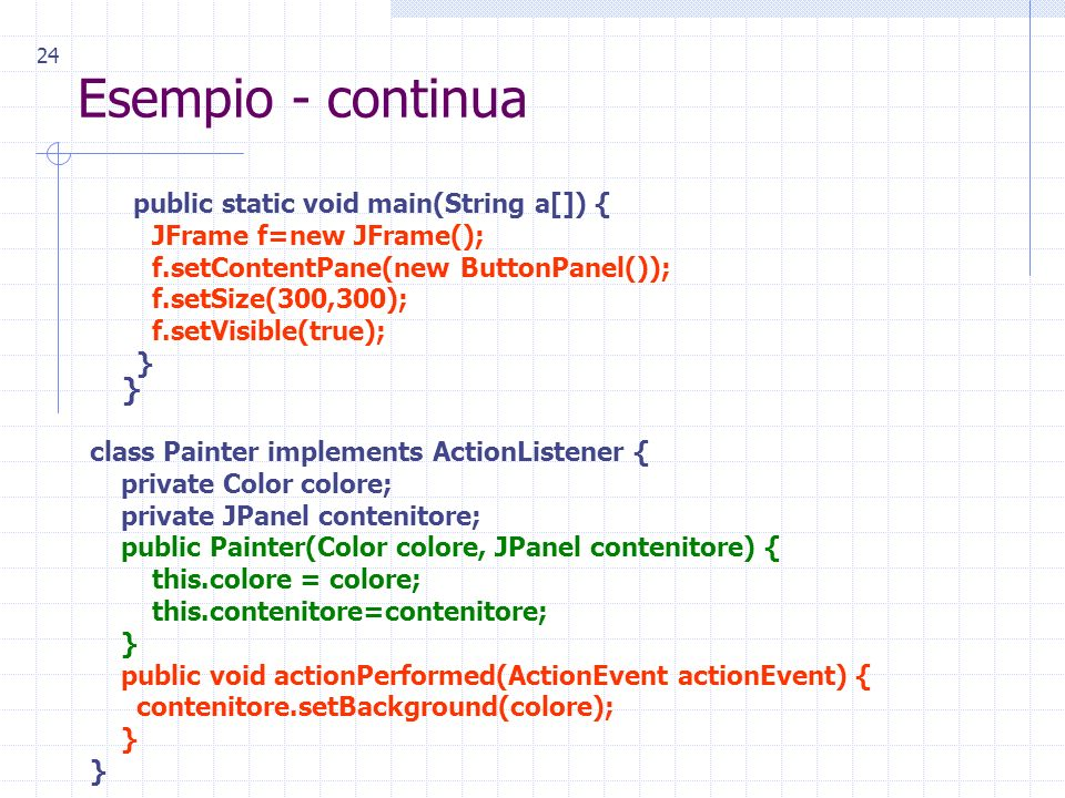 24 Esempio - continua public static void main(String a[]) { JFrame f=new JFrame(); f.setContentPane(new ButtonPanel()); f.setSize(300,300); f.setVisible(true); } } class Painter implements ActionListener { private Color colore; private JPanel contenitore; public Painter(Color colore, JPanel contenitore) { this.colore = colore; this.contenitore=contenitore; } public void actionPerformed(ActionEvent actionEvent) { contenitore.setBackground(colore); }