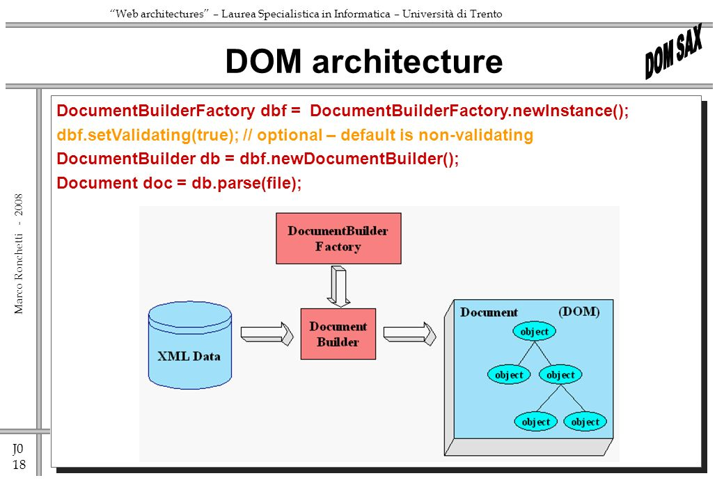 J0 18 Marco Ronchetti - Web architectures – Laurea Specialistica in Informatica – Università di Trento DOM architecture DocumentBuilderFactory dbf = DocumentBuilderFactory.newInstance(); dbf.setValidating(true); // optional – default is non-validating DocumentBuilder db = dbf.newDocumentBuilder(); Document doc = db.parse(file);