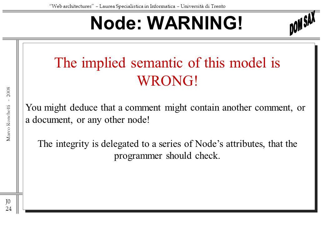 J0 24 Marco Ronchetti - Web architectures – Laurea Specialistica in Informatica – Università di Trento Node: WARNING! The implied semantic of this mod