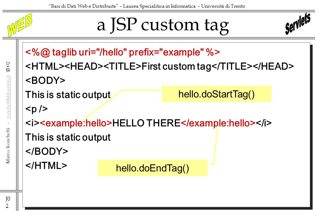 J0 2 Marco Ronchetti - ronchet@dit.unitn.it ronchet@dit.unitn.it Basi di Dati Web e Distribuite – Laurea Specialitica in Informatica – Università di Trento First custom tag This is static output HELLO THERE This is static output a JSP custom tag hello.doStartTag() hello.doEndTag()