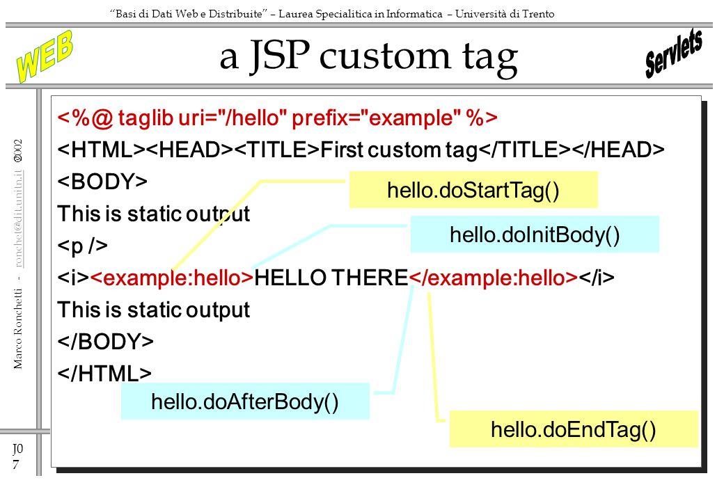 J0 7 Marco Ronchetti - ronchet@dit.unitn.it ronchet@dit.unitn.it Basi di Dati Web e Distribuite – Laurea Specialitica in Informatica – Università di Trento First custom tag This is static output HELLO THERE This is static output a JSP custom tag hello.doInitBody() hello.doEndTag() hello.doStartTag() hello.doAfterBody()
