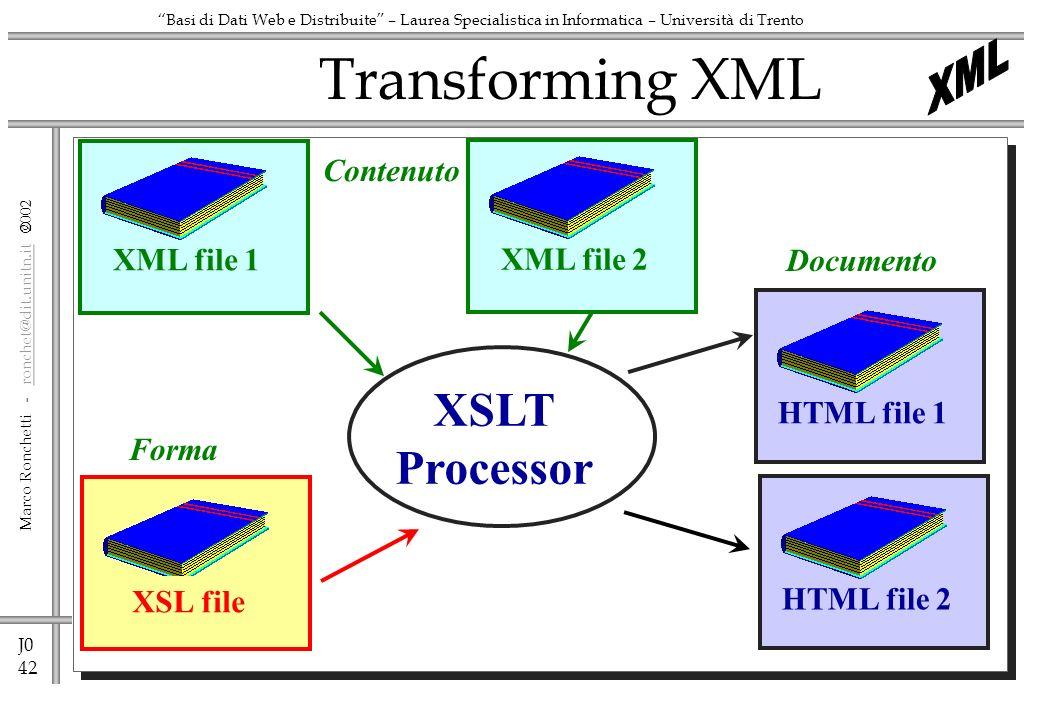 J0 42 Marco Ronchetti - ronchet@dit.unitn.it ronchet@dit.unitn.it Basi di Dati Web e Distribuite – Laurea Specialistica in Informatica – Università di Trento Transforming XML XSLT Processor XSL fileHTML file 1XML file 2 Contenuto Forma Documento XML file 1HTML file 2