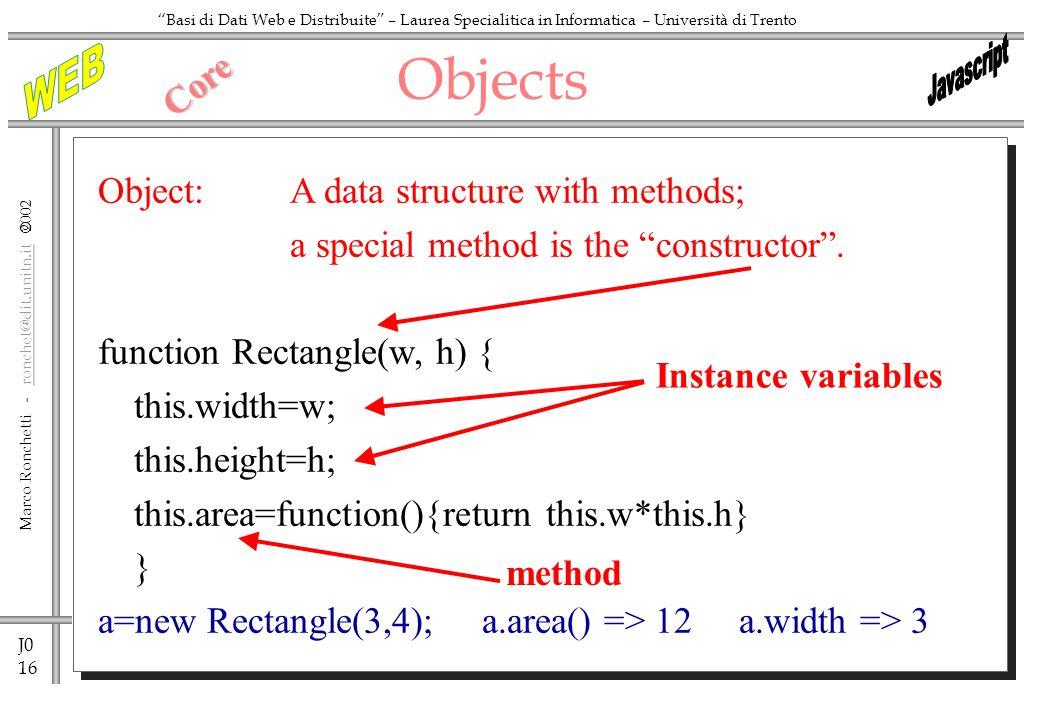J0 16 Marco Ronchetti - ronchet@dit.unitn.it ronchet@dit.unitn.it Basi di Dati Web e Distribuite – Laurea Specialitica in Informatica – Università di