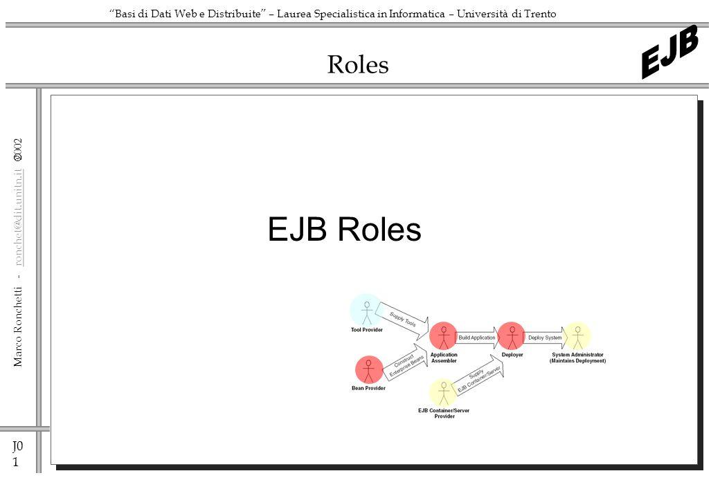 J0 1 Marco Ronchetti - ronchet@dit.unitn.it ronchet@dit.unitn.it Basi di Dati Web e Distribuite – Laurea Specialistica in Informatica – Università di Trento Roles EJB Roles