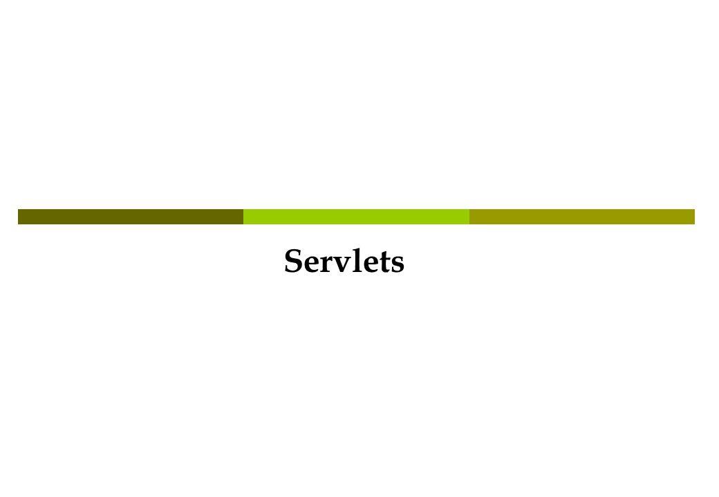 Servlet Lifecycle init() destroy() service(HttpServletRequest r, HttpServletResponse p) Chiamato solo la prima volta che la Servlet viene caricato in memoria.
