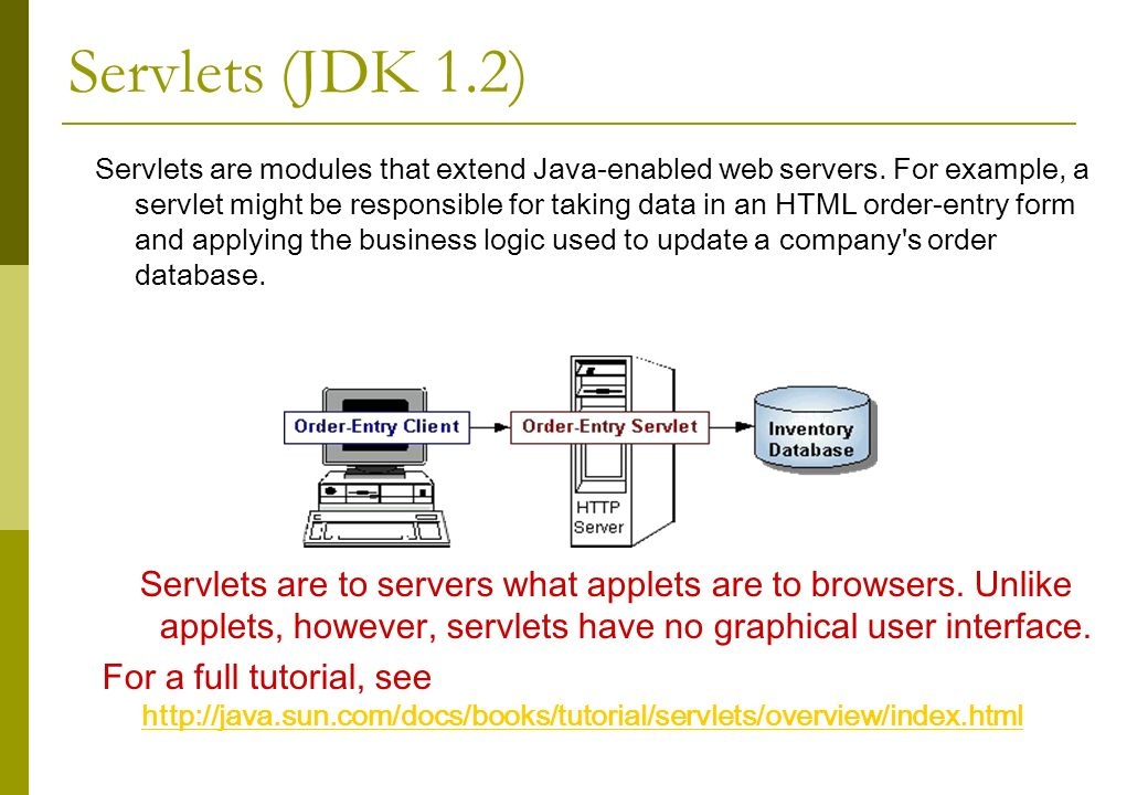 Servlets (JDK 1.2) Servlets are modules that extend Java-enabled web servers.