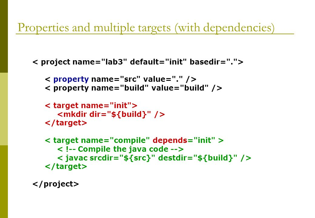 Properties and multiple targets (with dependencies)