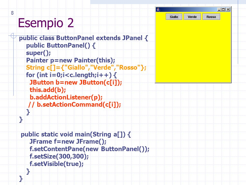 8 Esempio 2 public class ButtonPanel extends JPanel { public ButtonPanel() { super(); Painter p=new Painter(this); String c[]={ Giallo , Verde , Rosso }; for (int i=0;i<c.length;i++) { JButton b=new JButton(c[i]); this.add(b); b.addActionListener(p); // b.setActionCommand(c[i]); } public static void main(String a[]) { JFrame f=new JFrame(); f.setContentPane(new ButtonPanel()); f.setSize(300,300); f.setVisible(true); }