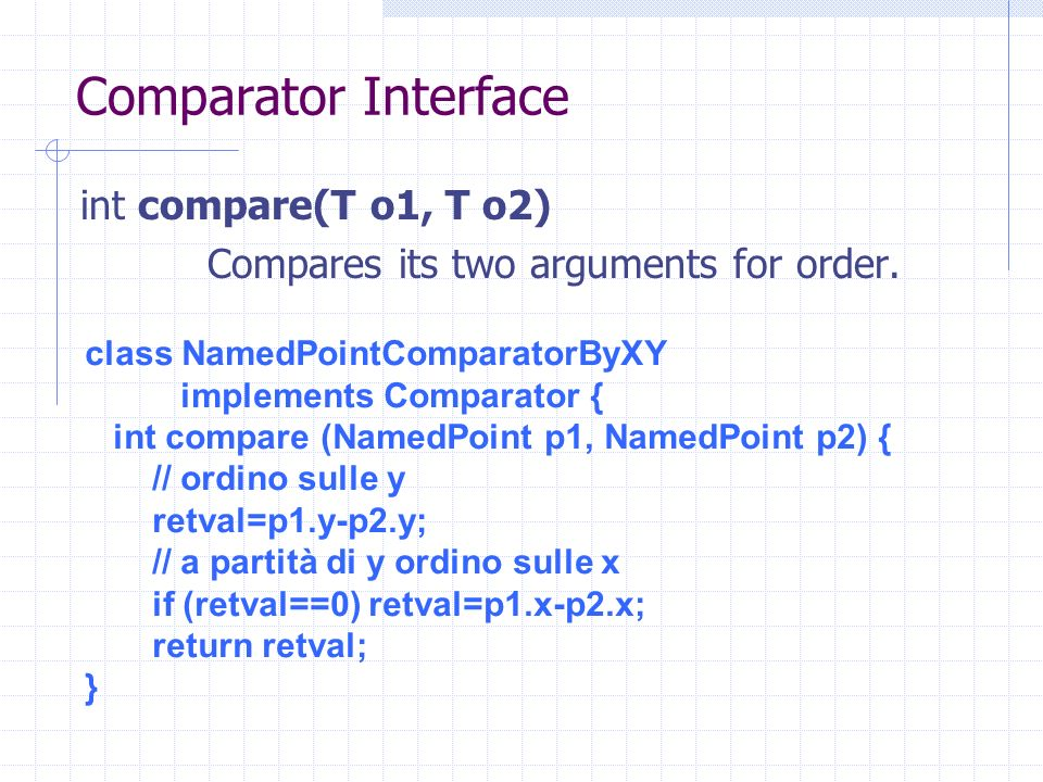 Comparator Interface int compare(T o1, T o2) Compares its two arguments for order. class NamedPointComparatorByXY implements Comparator { int compare