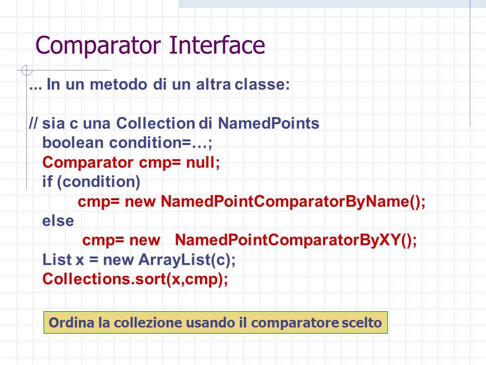 Comparator Interface... In un metodo di un altra classe: // sia c una Collection di NamedPoints boolean condition=…; Comparator cmp= null; if (conditi