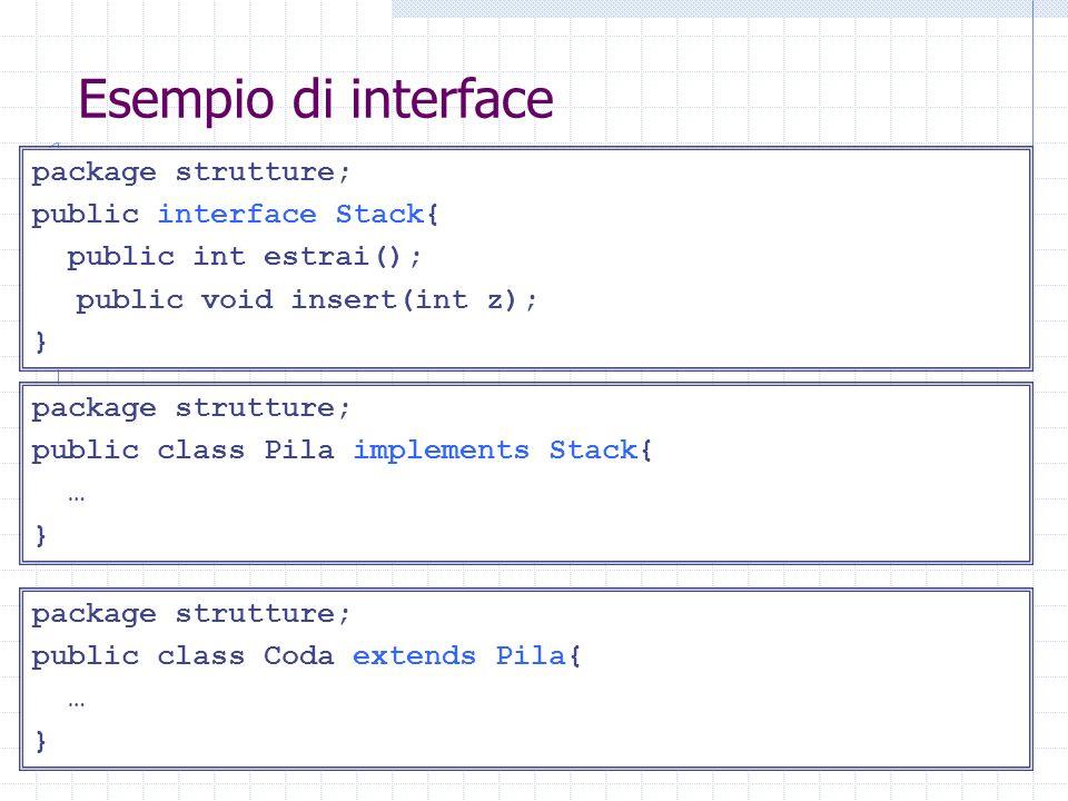 Esempio di interface package strutture; public interface Stack{ public int estrai(); public void insert(int z); } package strutture; public class Pila