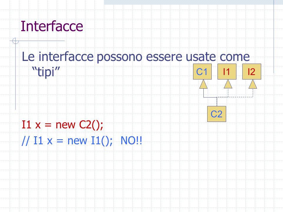 Interfacce Le interfacce possono essere usate come tipi I1 x = new C2(); // I1 x = new I1(); NO!.