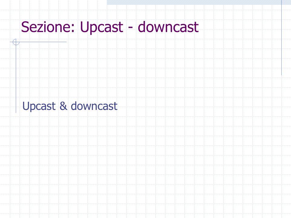 Sezione: Upcast - downcast Upcast & downcast
