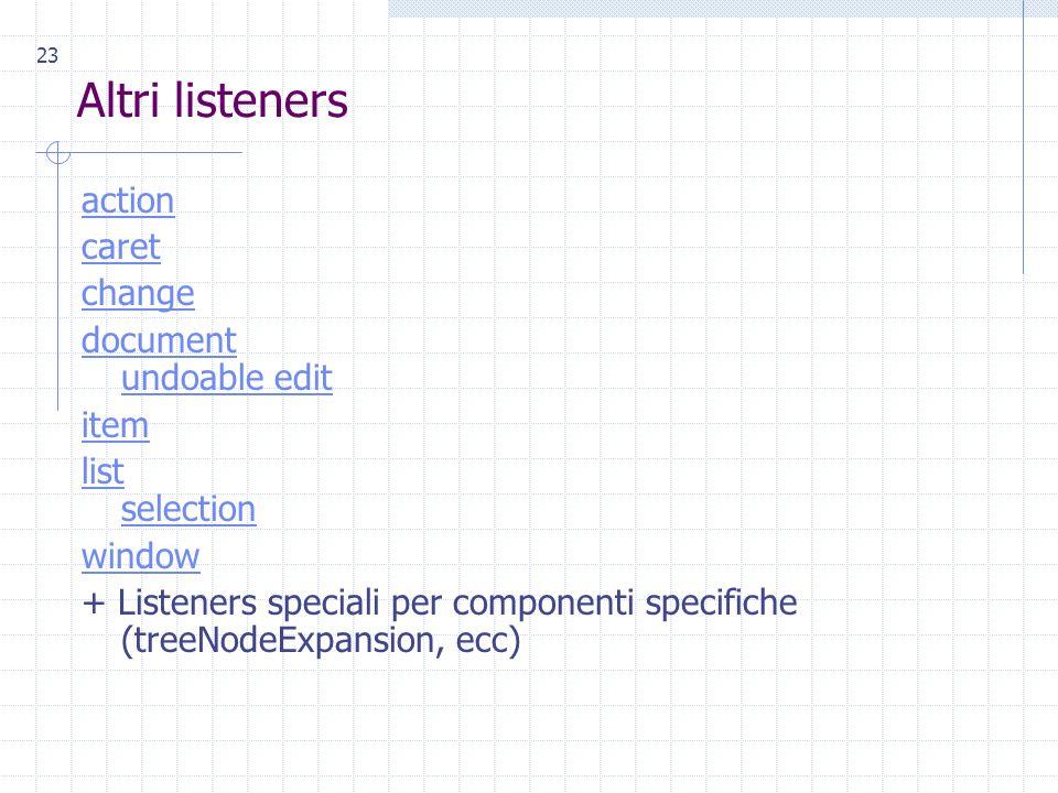 23 Altri listeners action caret change document undoable edit item list selection window + Listeners speciali per componenti specifiche (treeNodeExpansion, ecc)