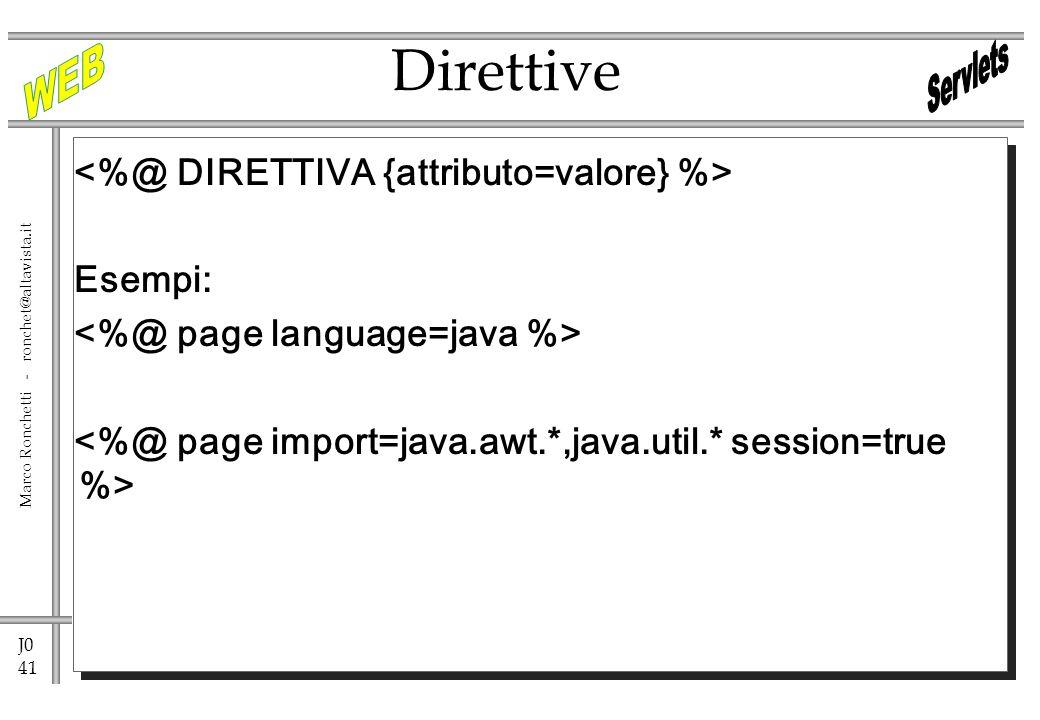 J0 41 Marco Ronchetti - ronchet@altavista.it Esempi: Direttive