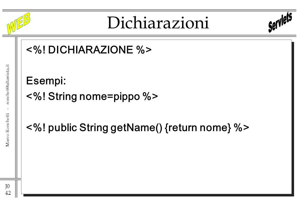 J0 42 Marco Ronchetti - ronchet@altavista.it Esempi: Dichiarazioni
