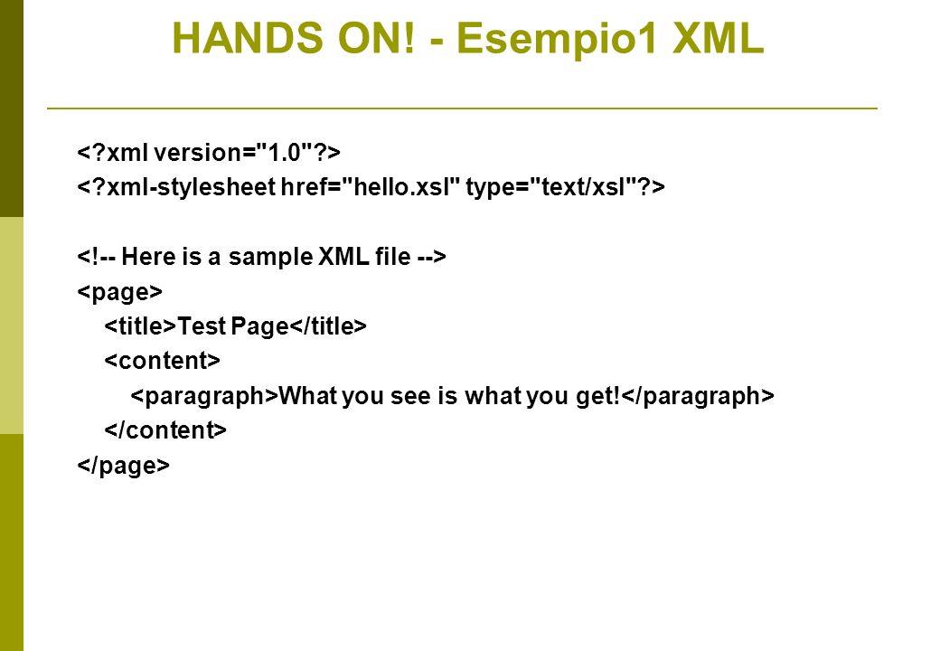 HANDS ON! - Esempio1 XSL a