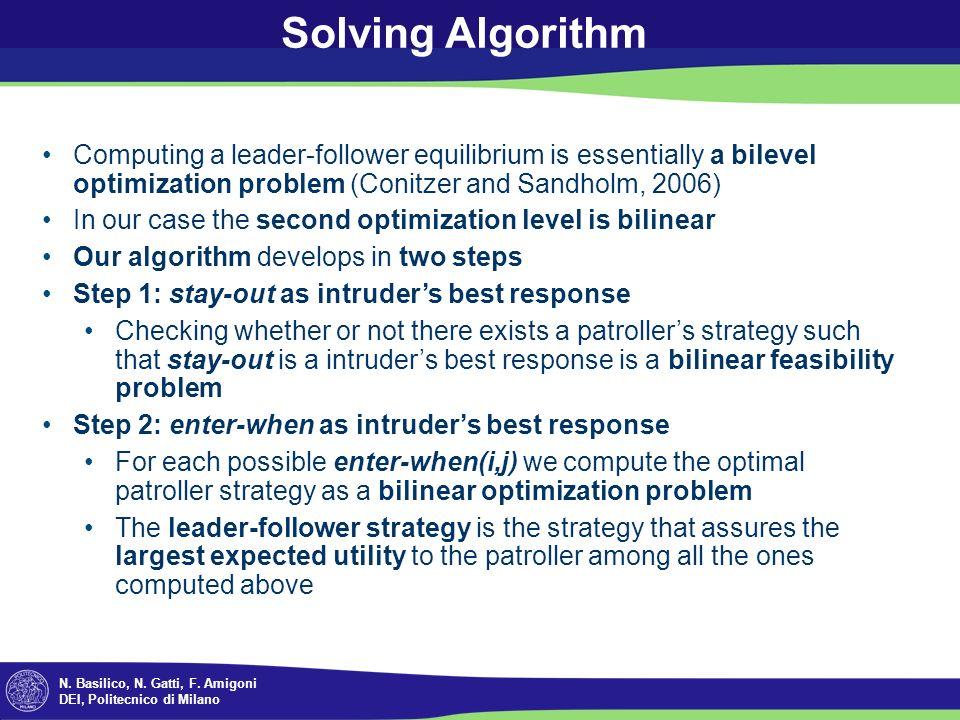 N. Basilico, N. Gatti, F. Amigoni DEI, Politecnico di Milano Solving Algorithm Computing a leader-follower equilibrium is essentially a bilevel optimi