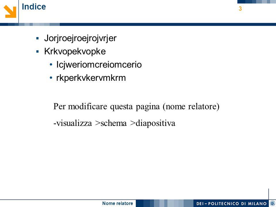 Nome relatore 3 Indice Jorjroejroejrojvrjer Krkvopekvopke Icjweriomcreiomcerio rkperkvkervmkrm Per modificare questa pagina (nome relatore) -visualizza >schema >diapositiva