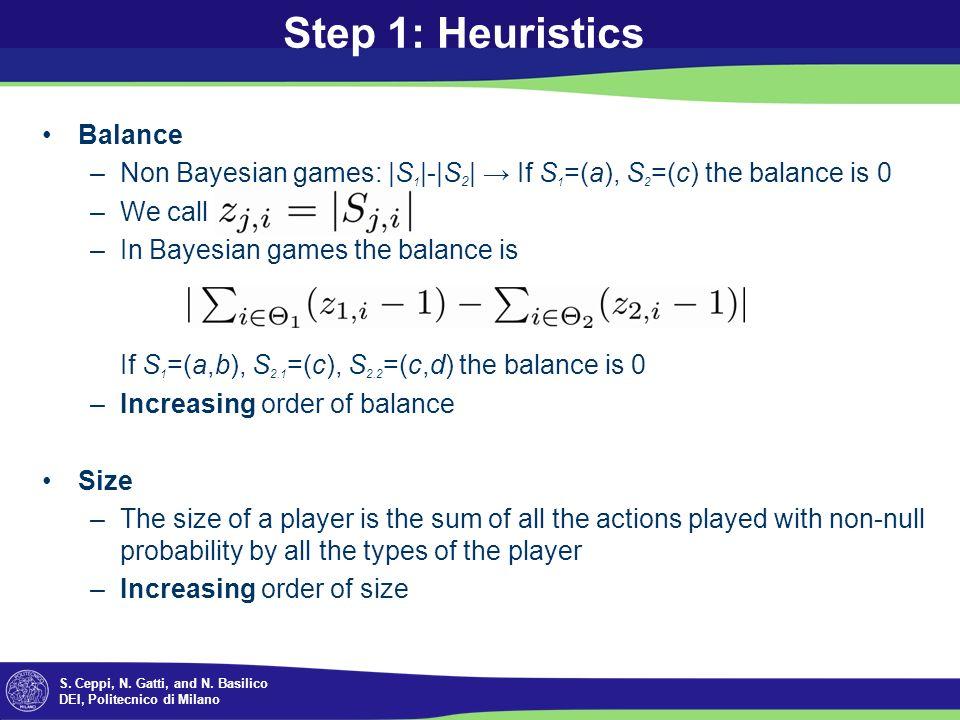 S. Ceppi, N. Gatti, and N. Basilico DEI, Politecnico di Milano Step 1: Heuristics Balance –Non Bayesian games: |S 1 |-|S 2 | If S 1 =(a), S 2 =(c) the
