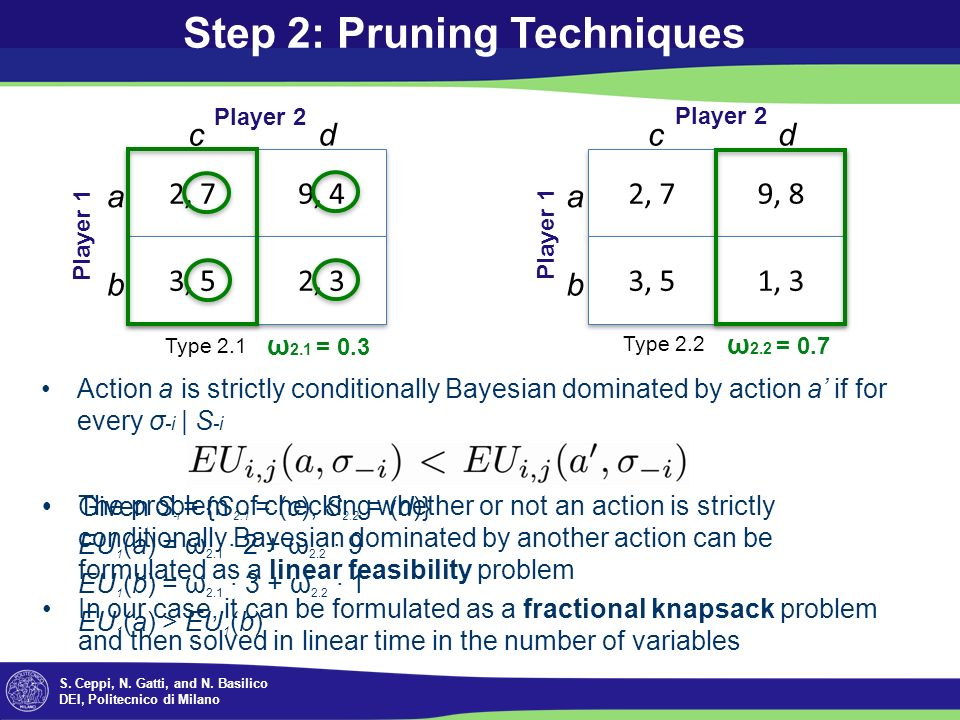 S. Ceppi, N. Gatti, and N. Basilico DEI, Politecnico di Milano Step 2: Pruning Techniques The problem of checking whether or not an action is strictly