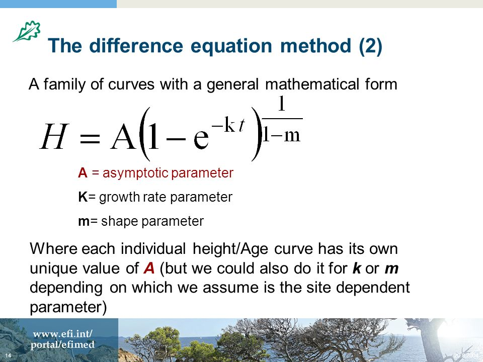 20.8.200414 The difference equation method (2) A family of curves with a general mathematical form A = asymptotic parameter K= growth rate parameter m
