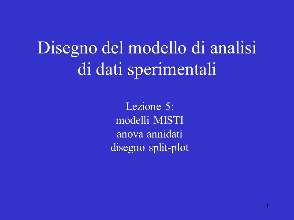 1 Disegno del modello di analisi di dati sperimentali Lezione 5: modelli MISTI anova annidati disegno split-plot