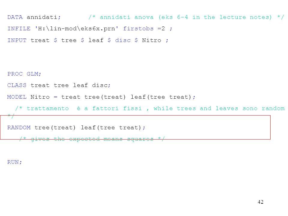 41 General Linear modelli Procedure Dependent variabile: NITRO Source DF Sum di Squares Mean Square F Value Pr > F Model 17 134.04000000 7.88470588 8.00 0.0001 Error 18 17.75000000 0.98611111 Corrected Total 35 151.79000000 R-Square C.V.