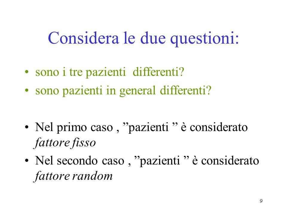9 Considera le due questioni: sono i tre pazienti differenti.