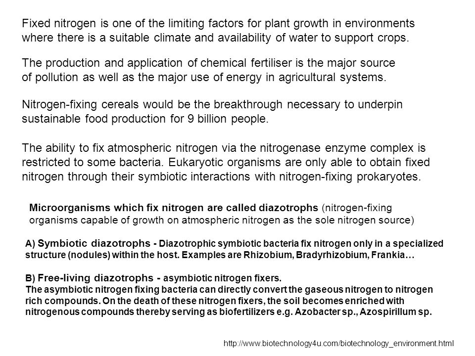 Fixed nitrogen is one of the limiting factors for plant growth in environments where there is a suitable climate and availability of water to support