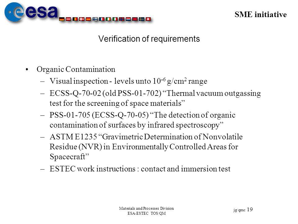 SME initiative jg/qmc 19 Materials and Processes Division ESA-ESTEC TOS/QM Verification of requirements Organic Contamination –Visual inspection - lev