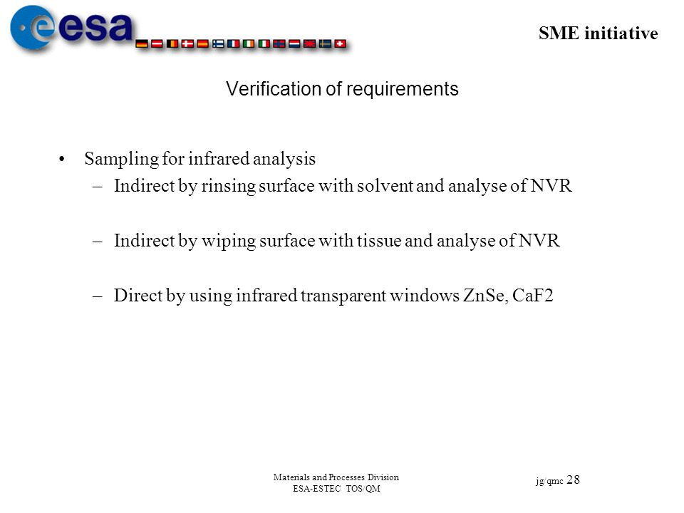 SME initiative jg/qmc 28 Materials and Processes Division ESA-ESTEC TOS/QM Verification of requirements Sampling for infrared analysis –Indirect by ri