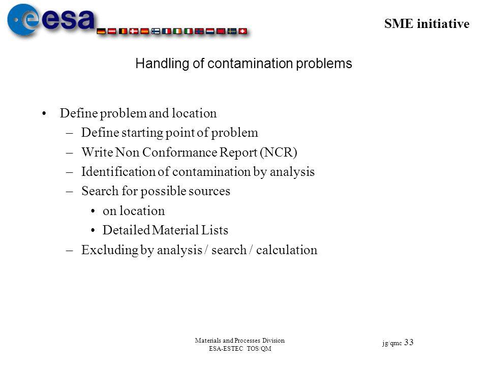 SME initiative jg/qmc 33 Materials and Processes Division ESA-ESTEC TOS/QM Handling of contamination problems Define problem and location –Define star