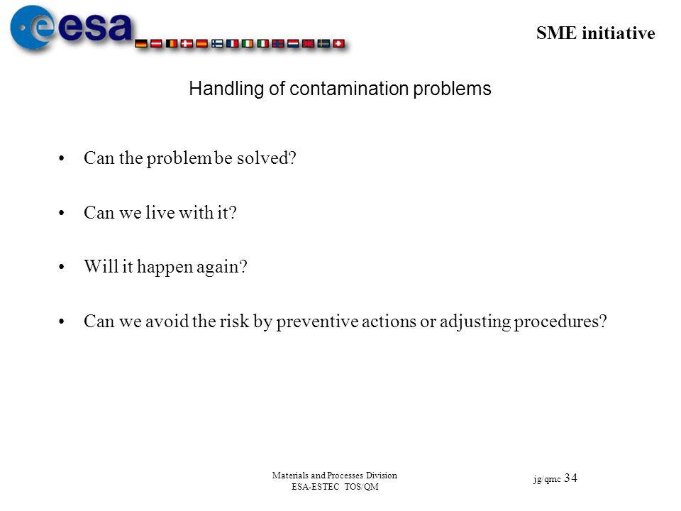 SME initiative jg/qmc 34 Materials and Processes Division ESA-ESTEC TOS/QM Handling of contamination problems Can the problem be solved? Can we live w