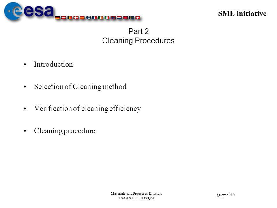 SME initiative jg/qmc 35 Materials and Processes Division ESA-ESTEC TOS/QM Part 2 Cleaning Procedures Introduction Selection of Cleaning method Verifi