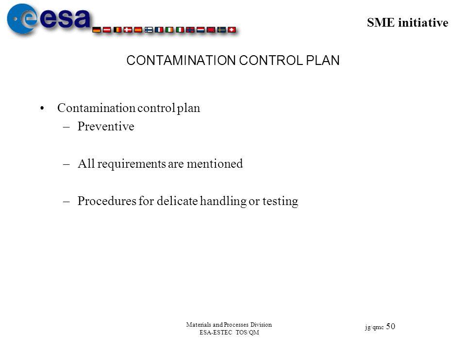 SME initiative jg/qmc 50 Materials and Processes Division ESA-ESTEC TOS/QM CONTAMINATION CONTROL PLAN Contamination control plan –Preventive –All requ