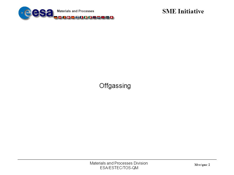 Materials and Processes SME Initiative Materials and Processes Division ESA/ESTEC/TOS-QM Mve/qmc 3 ECSS-Q-70-29 (former ESA PSS-01-729) : The determination of offgassing products from materials and assembled articles to be used in a manned space vehicle crew compartment Purpose: Determine the identity and quantity of volatile offgassed products from materials and assembled articles.