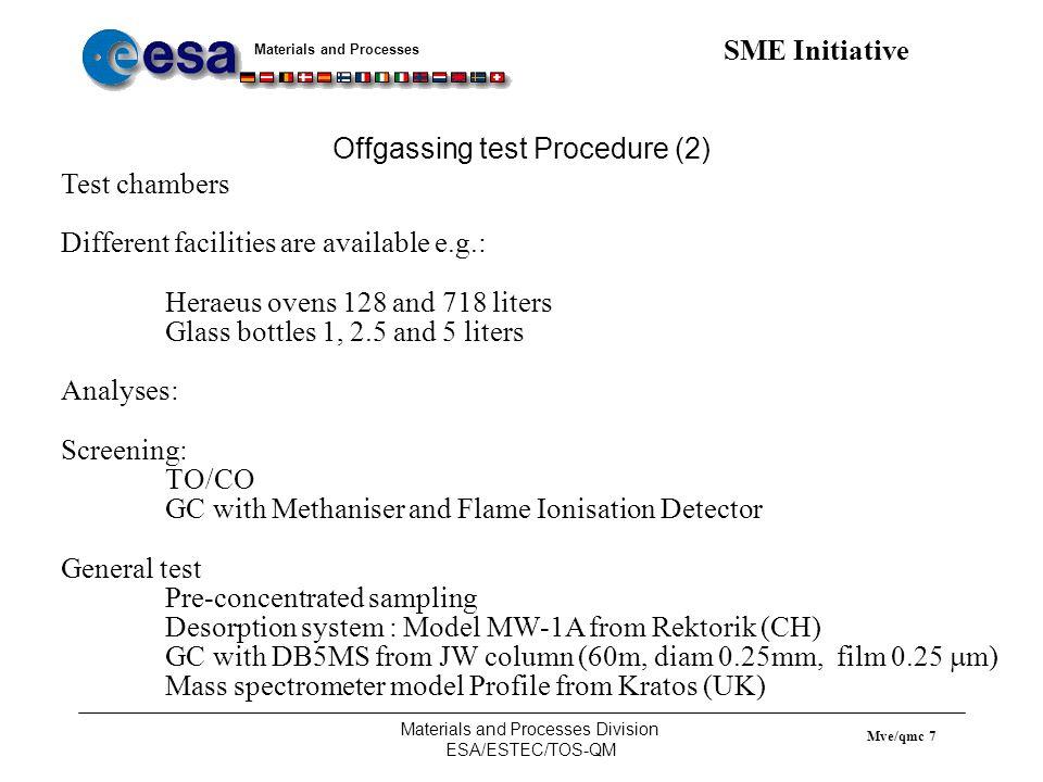 Materials and Processes SME Initiative Materials and Processes Division ESA/ESTEC/TOS-QM Mve/qmc 8 Offgassing test Procedure (3) Screening test