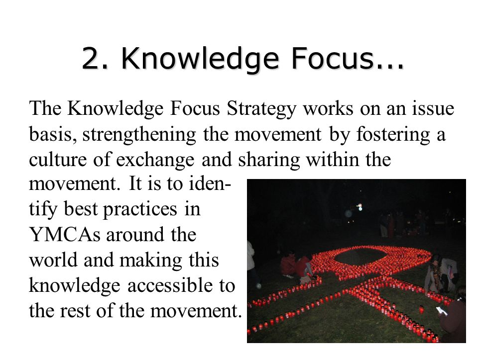 2. Knowledge Focus... The Knowledge Focus Strategy works on an issue basis, strengthening the movement by fostering a culture of exchange and sharing