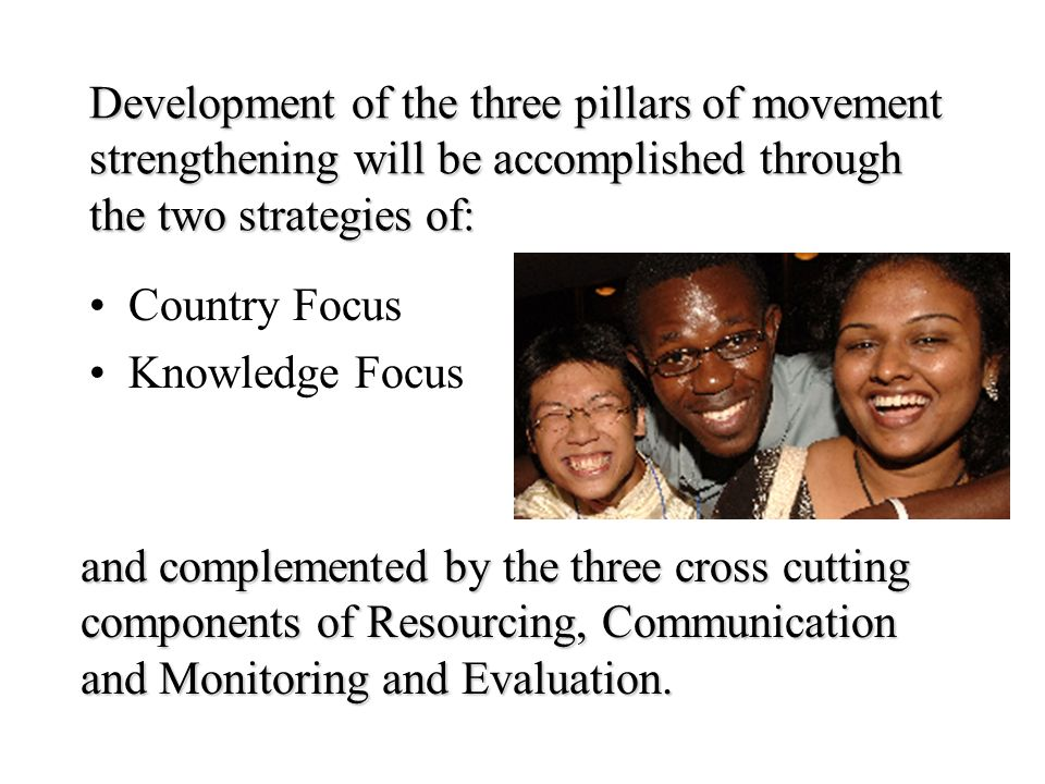 Development of the three pillars of movement strengthening will be accomplished through the two strategies of: Country Focus Knowledge Focus and compl