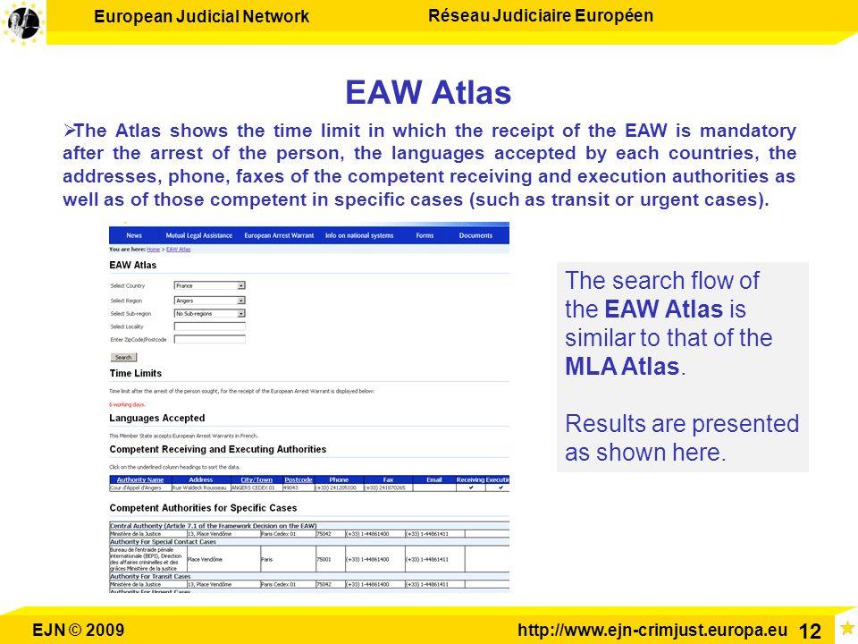 European Judicial Network Réseau Judiciaire Européen EJN © 2009http://www.ejn-crimjust.europa.eu 12 EAW Atlas The search flow of the EAW Atlas is simi