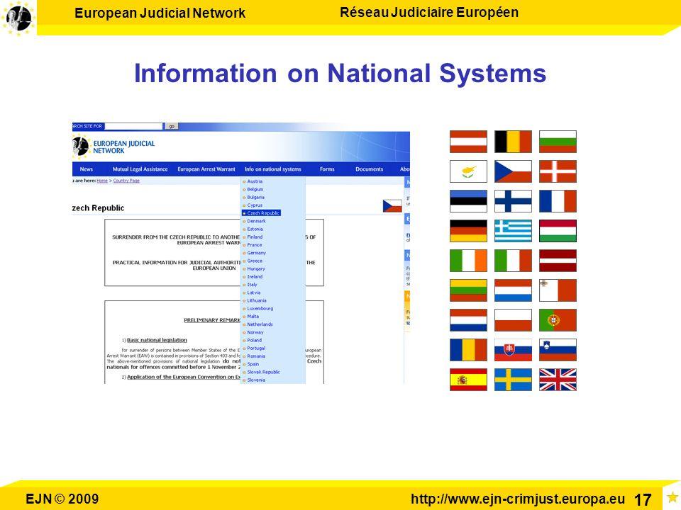 European Judicial Network Réseau Judiciaire Européen EJN © 2009http://www.ejn-crimjust.europa.eu 17 Information on National Systems