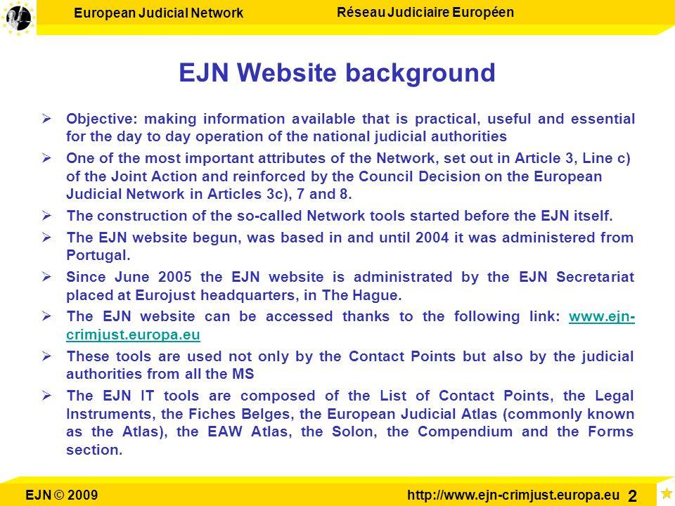 European Judicial Network Réseau Judiciaire Européen EJN © 2009http://www.ejn-crimjust.europa.eu 2 EJN Website background Objective: making informatio