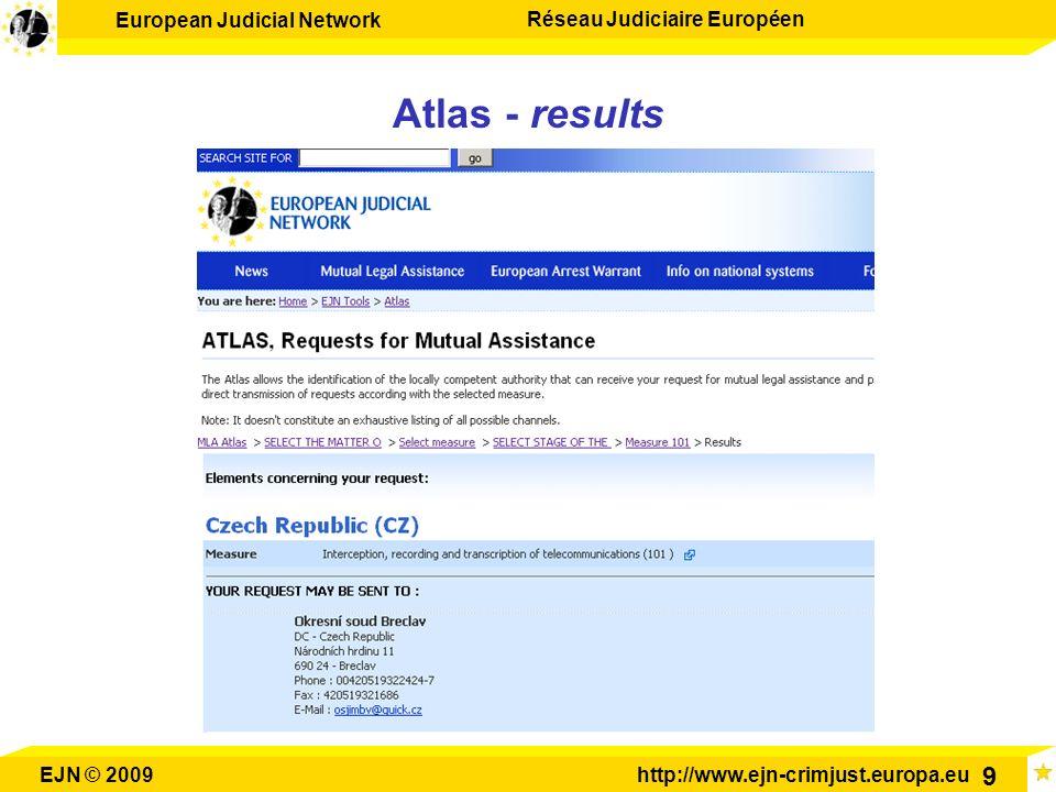 European Judicial Network Réseau Judiciaire Européen EJN © 2009http://www.ejn-crimjust.europa.eu 9 Atlas - results