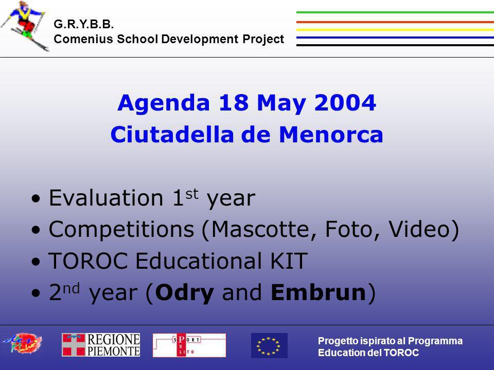 G.R.Y.B.B. Comenius School Development Project Progetto ispirato al Programma Education del TOROC Agenda 18 May 2004 Ciutadella de Menorca Evaluation