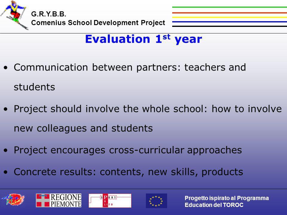G.R.Y.B.B. Comenius School Development Project Progetto ispirato al Programma Education del TOROC Evaluation 1 st year Communication between partners: