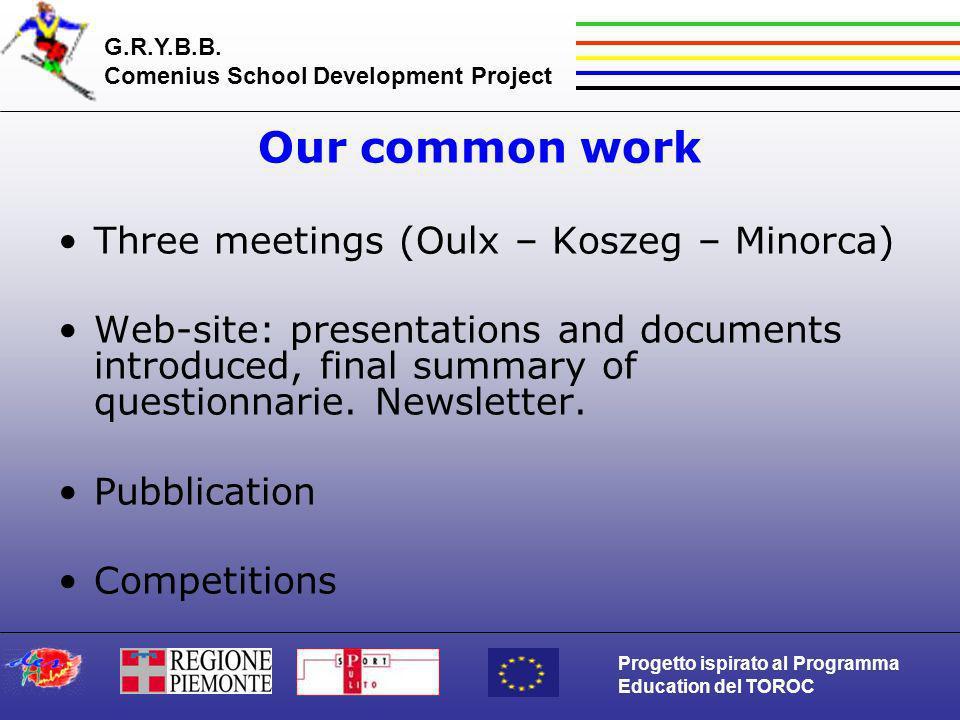 G.R.Y.B.B. Comenius School Development Project Progetto ispirato al Programma Education del TOROC Our common work Three meetings (Oulx – Koszeg – Mino