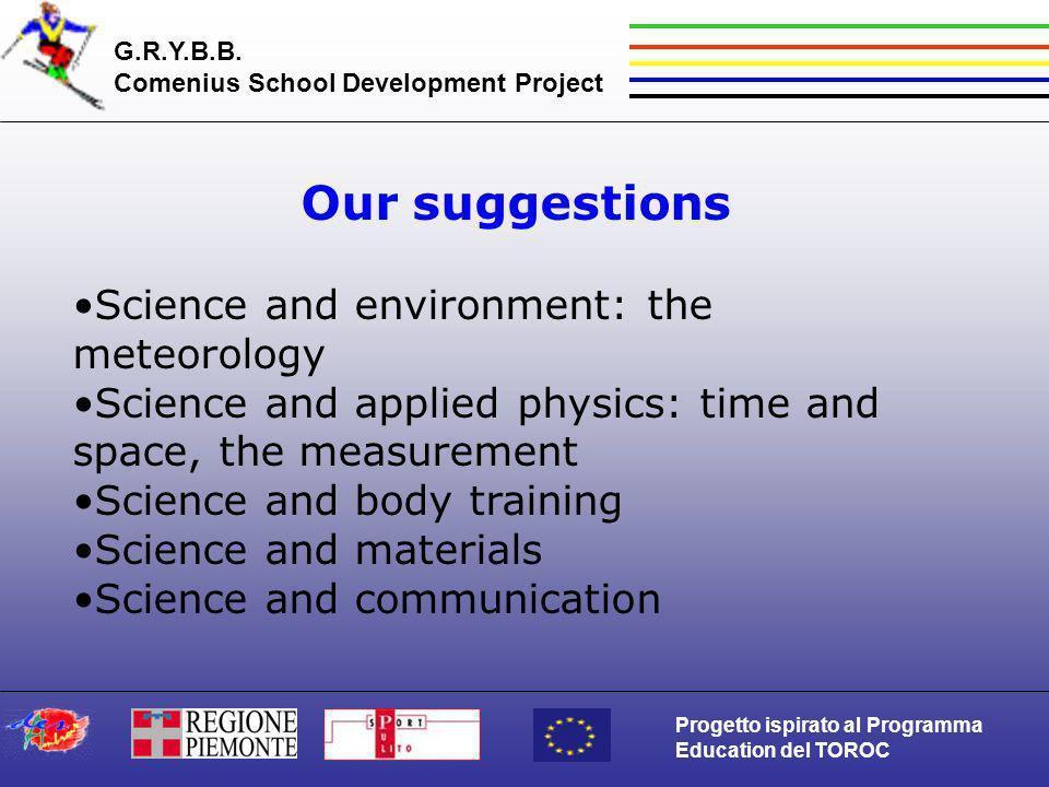 G.R.Y.B.B. Comenius School Development Project Progetto ispirato al Programma Education del TOROC Our suggestions Science and environment: the meteoro
